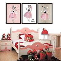 Belleza Niñas lona impresión giclee pintura cute Wall imágenes para niños dormitorio decoración del hogar