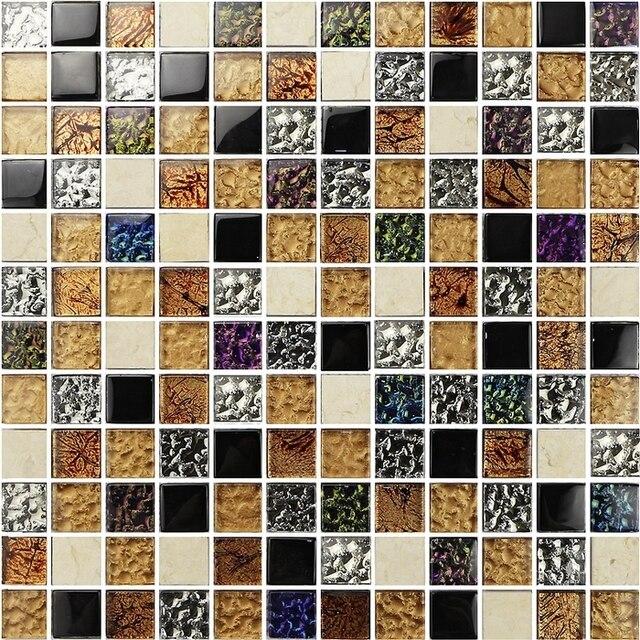Platz Muster Helle Mischfarbe Glas Gemischte Stein Fliesen Für Küche Backsplash  Fliesen Badezimmer Dusche Mosaik Kamin