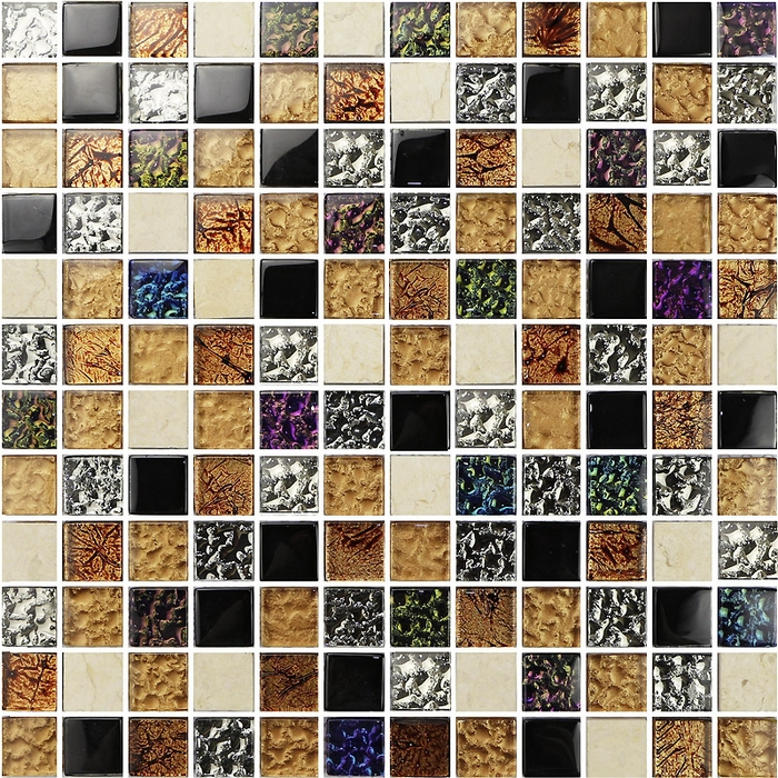 Square Pattern Bright Mixed Color Glass Mixed Stone Tiles