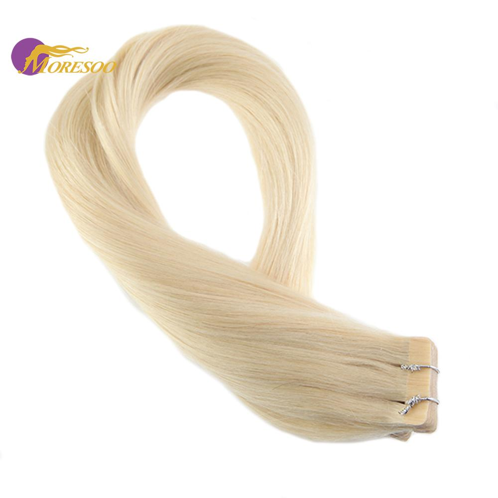 Moresoo Tape In Human Hair Extensions Adhesive Remy Brazilian Hair #613 Bleach Blonde Color Skin Weft Tape On Hair 2.5g/pcs
