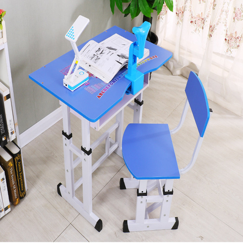 Child study table children's desks desks and chairs combination home work table can lift student writing desk and chair set