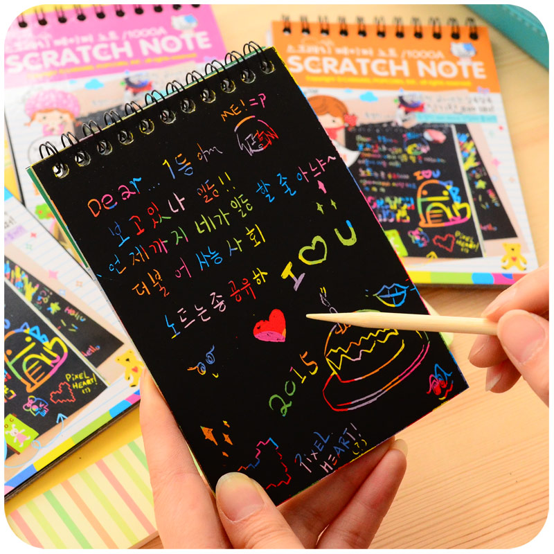 DIY Scratch note Novelty draw sketch Black cardboard for kids toy books zakka material Escolar School Supplies F626 цена