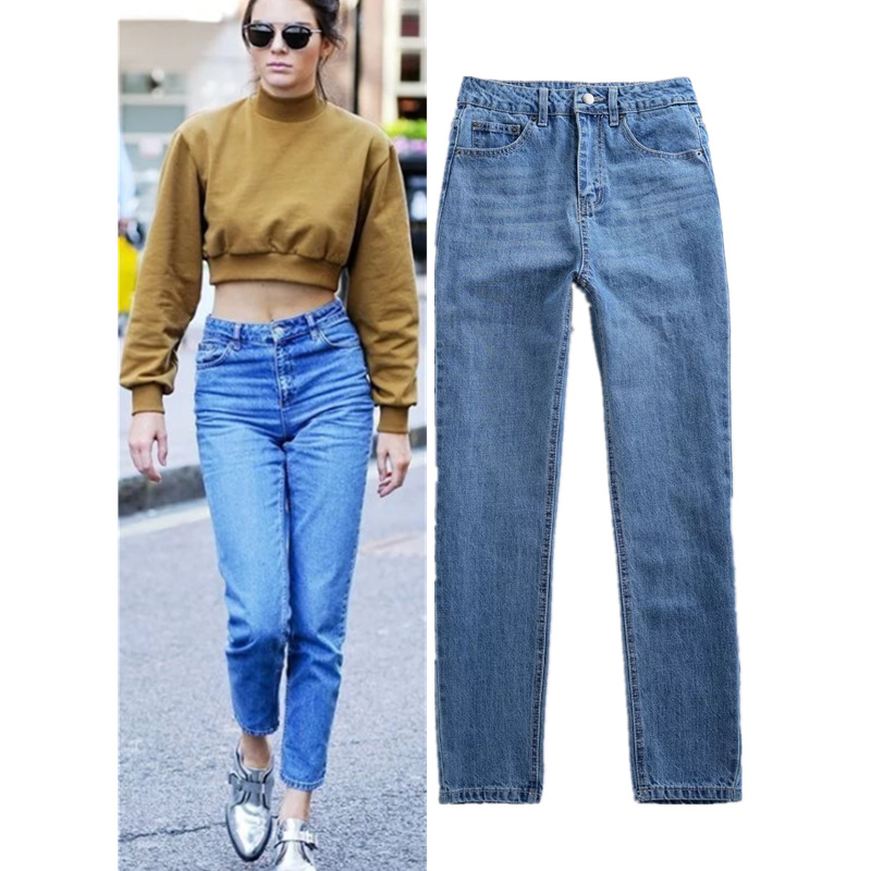 2017 women brand clothing star style high waist slim straight washed cotton jeans Female vintage fashion denim pants trousers