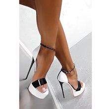 24868bad4 Tamanho grande 34-46 Pu Couro Salto Alto Sandálias 16 cm Stripper Sapatos  Festa de Casamento de Verão Sapatos Gladiador Das Mulh.