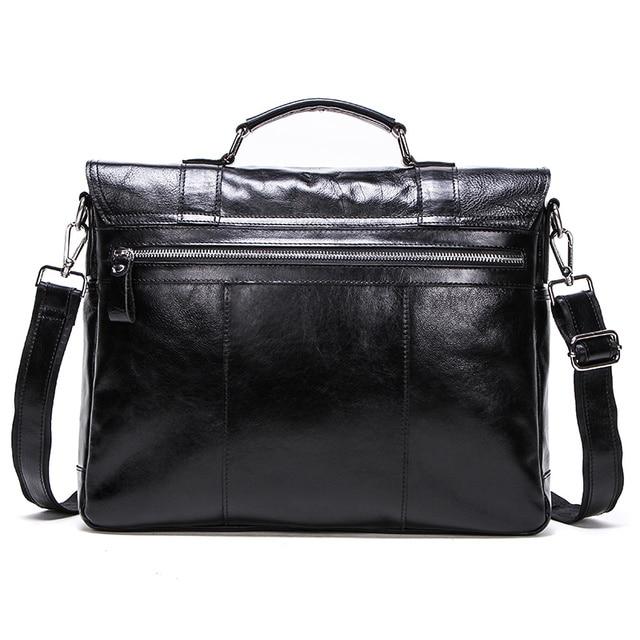 CONTACT'S vegetable leather men briefcase for lawyers 13inch laptop handbag ipad large vintage business male messenger bag Black | HOTSHOPDIRECT