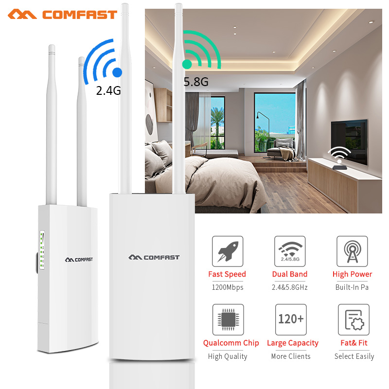 Comfast 1200Mbps CF EW72 Dual Band 5G High Power Outdoor AP Omnidirectional Coverage Access Point Wifi Base Station Antenna AP-in Wireless Routers from Computer & Office