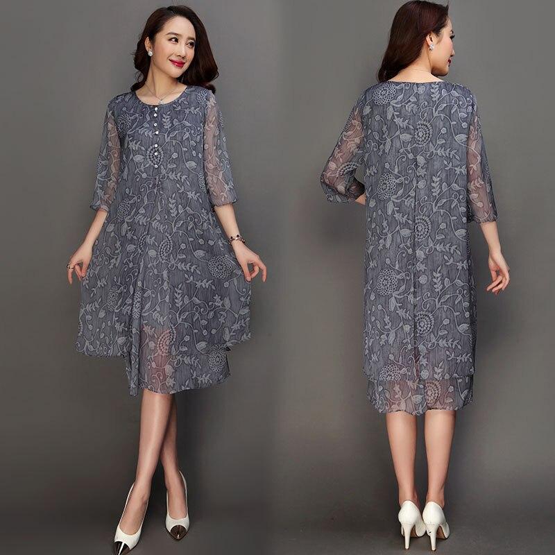 2019 été O cou demi manches décontracté Vestido Feminina été grande taille 6XL Vintage soie a-ligne robe RE2180