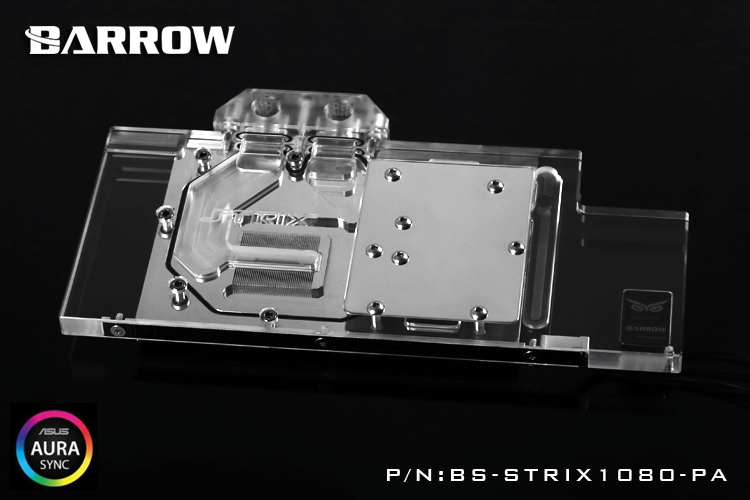 Barrow BS-STRIX1080-PA Water Cooling GPU Block for ASUS ROG STRIX GTX1080 1070 1060 2pcs gpu rx470 gtx1080ti vga cooler fans rog poseidon gtx1080ti graphics card fan for asus rog strix rx 470 video cards cooling