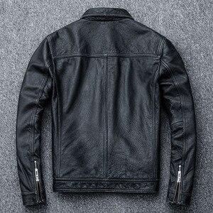 Image 5 - MAPLESTEED ヴィンテージ黒本物の革のジャケット男性 100% 天然カーフスキン赤茶色のレザージャケット男性の革のコートの秋 m174
