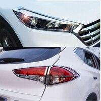 Fit Voor Hyundai Tucson Tl 2015 2016 Chrome Voor Achter Koplamp Achterlicht Lamp Cover Trim Styling Decoratie Bezel Molding