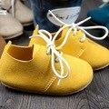 Nueva mano de Cuero Genuino zapatos de bebé 13-16 cm con cordones Mocasines Bebé Primer Caminante Bebe recién nacido Soft zapatos inferiores