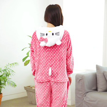 VEVEFHUANG Winter Hello Kitty Onesie Cosplay Pajamas Adult  Unisex Pyjamas Long Sleeve Flannel Hooded Sleepwear For Women Men