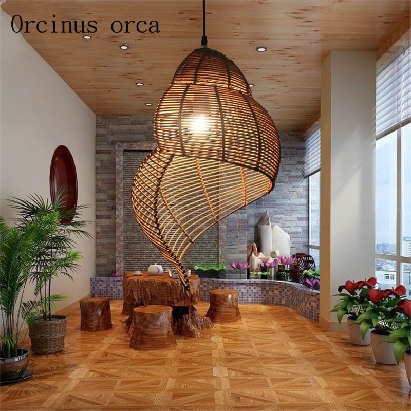 Retro Southeast Snail  Chandelier Cafe Balcony Style Creative Rattan Weaving  Chandelier Free Shipping