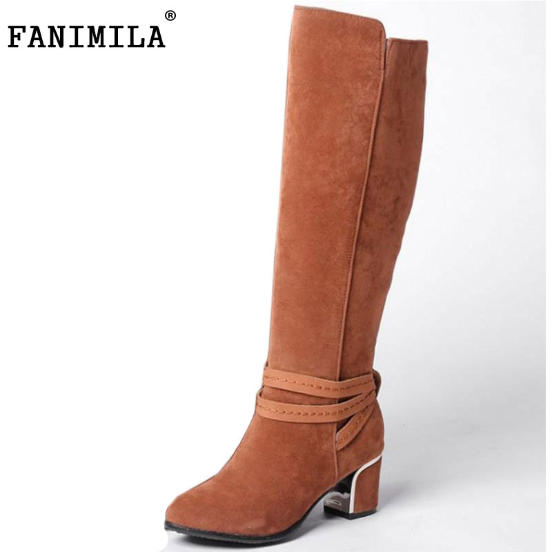 FANIMILA Plus Size 30-48 Ladies Thick High Heels Knee High Boots Women Pointed Toe Ankle Wrap Zip Shoes Women Autumn Warm Botas brand new fashion black yellow women knee high cowboy motorcycle boots ladies shoes high heels a 16 zip plus big size 32 43 10