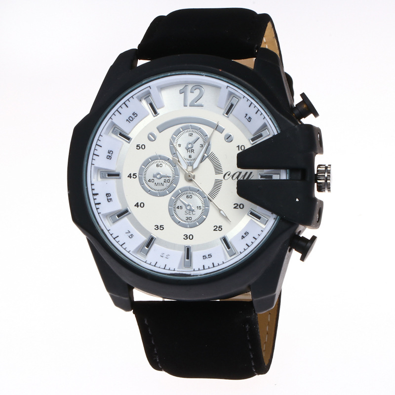Hesiod Luxury Watch For Men Casual Soft Leather Strap Big Dial Wristwatches Sport Watches Unique Army Green Watch
