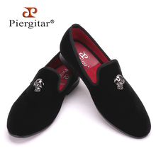 High Quality Skull Buckle Handmade Men Velvet shoes Wedding party and Banquet  Men Loafers Plus size Men's Flats Size US 4-17