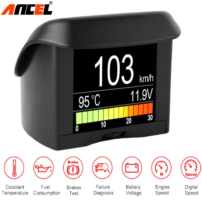 Ancel A202 On-board Computer For Car OBD2 Digital Display Fuel Consumption Speed Voltage Water Temperature Gauge OBD HUD Display
