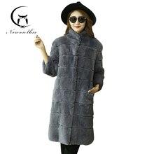 2016 winter new women's long section of the vertical stitching collar Rex fur fur grass fur coat