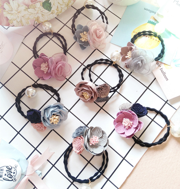 Korea Flowers Elastic Hair Bands  Butterfly Rubber Band Headband For Women Hair Accessories Ribbon Hair Ties  Gum for Hair 4 gorgeous faux feather elastic hair band for women