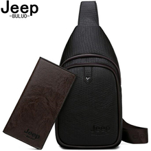 JEEP BULUO Brand Fashion Casual Men's Bags Crossbody Travel Shoulder Bag Men Sling Bags High Quality Leather Chest Bag For Man