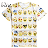 2015 T Shirt Women Men Emoji Sweet Doll Romantic Print Slim Fitness T Trend Sport Brand