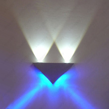 Up/Down 4W LED Wall Sconce Light Dimmable/Not Fixture Lamp Triangle Lighting Living Room Disco Cafe Silver Shell