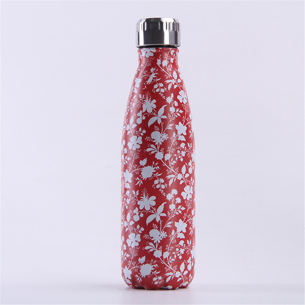 Flower Printing Water Bottle 500ml Double Wall Stainless Steel Bottle Thermal Vacuum Flask Sport Outdoors Travel Cups in Vacuum Flasks Thermoses from Home Garden