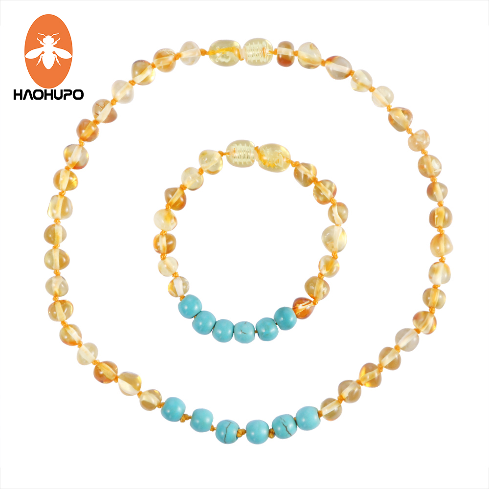 HAOHUPO Baltic Amber Teething Bracelet / Necklaces with Natural Turquoise Women Jewelry Original Choker Handmade Design