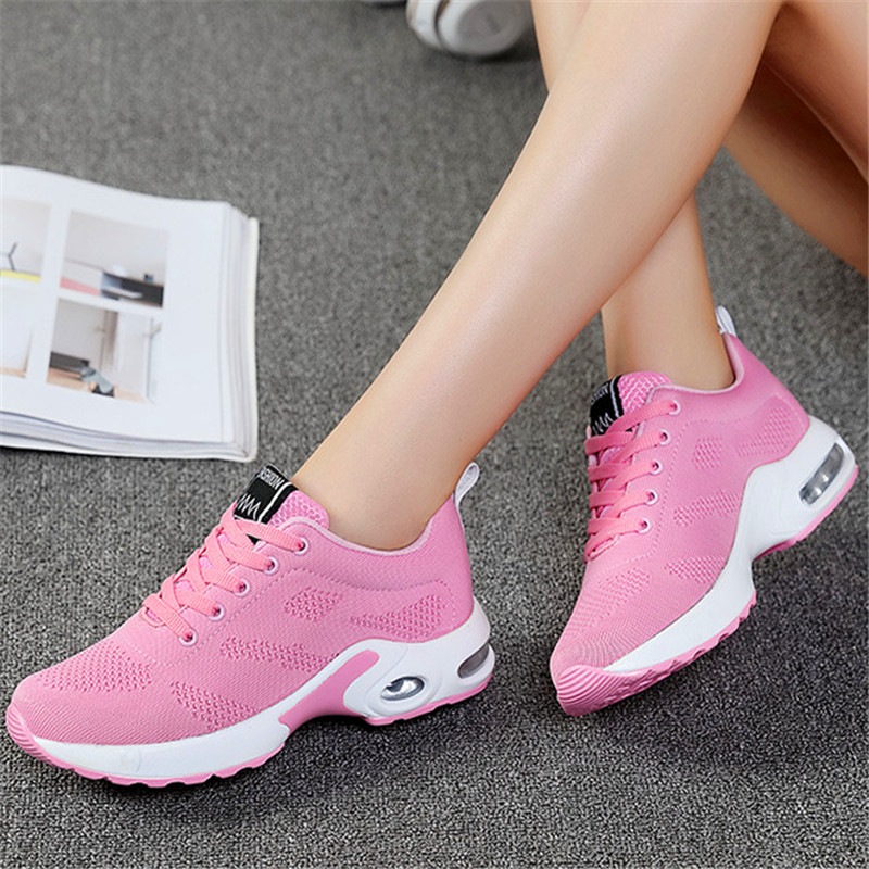 2019 summer new air cushion breathable flying woven casual running men and women couple shoes in Women 39 s Vulcanize Shoes from Shoes