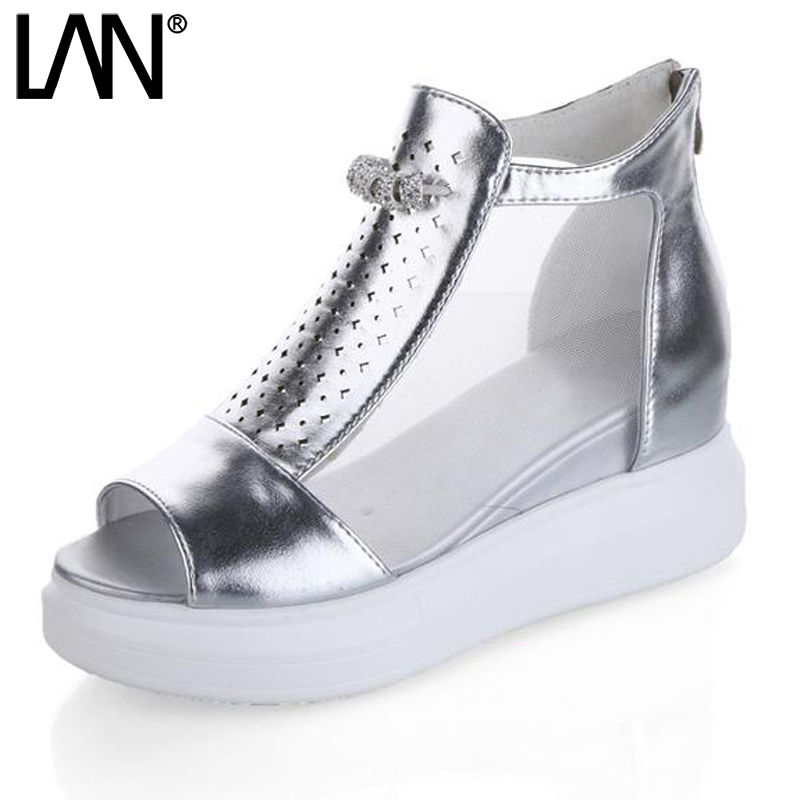 LANSHULAN 2017 Peep Toe New Summer Woman Sandals Platform Wedges Flip Flops Sliders Faux Leather Zip Creepers Causal Hollow Out lanshulan wedges gladiator sandals 2017 summer peep toe platform slippers casual glitters shoes woman slip on flats creepers
