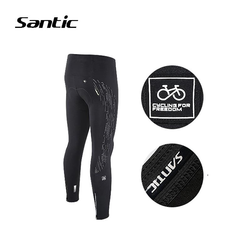 Santic Winter Cycling Pants Fleece Warmer Reflective Elastic Tights Long Trousers Bike MTB Bicycle Pants Sportswear Riding Pants