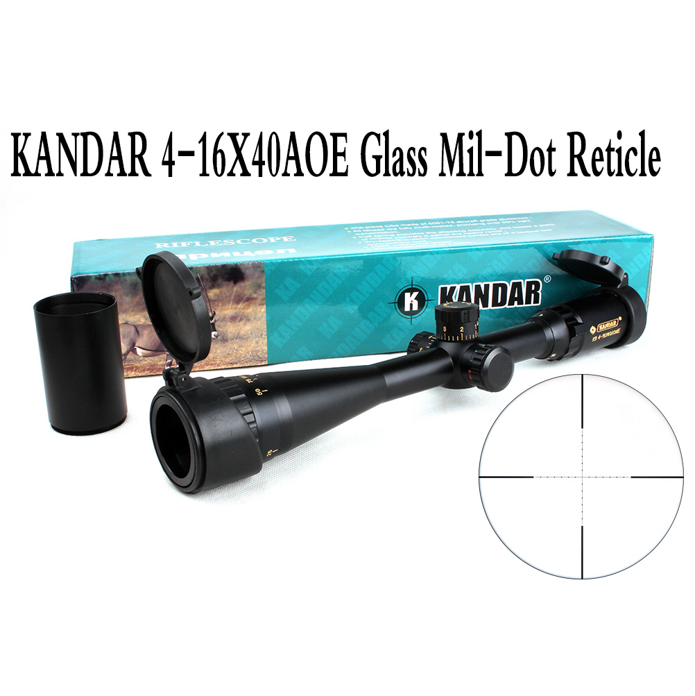Tactical Optical Sight Gold Edition KANDAR 4-16x40 AOME Glass Mil-dot Reticle Locking RifleScope Hunting Rifle Scope tactial qd release rifle scope 3 9x32 1maol mil dot hunting riflescope with sun shade tactical optical sight tube equipment