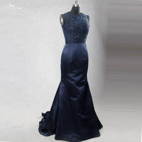 RSE187 Navy Blue Mother Of The Bride Dresses Long Lace Top Illussion Back For Wedding Vestido De Madrinha Godmother Dresses