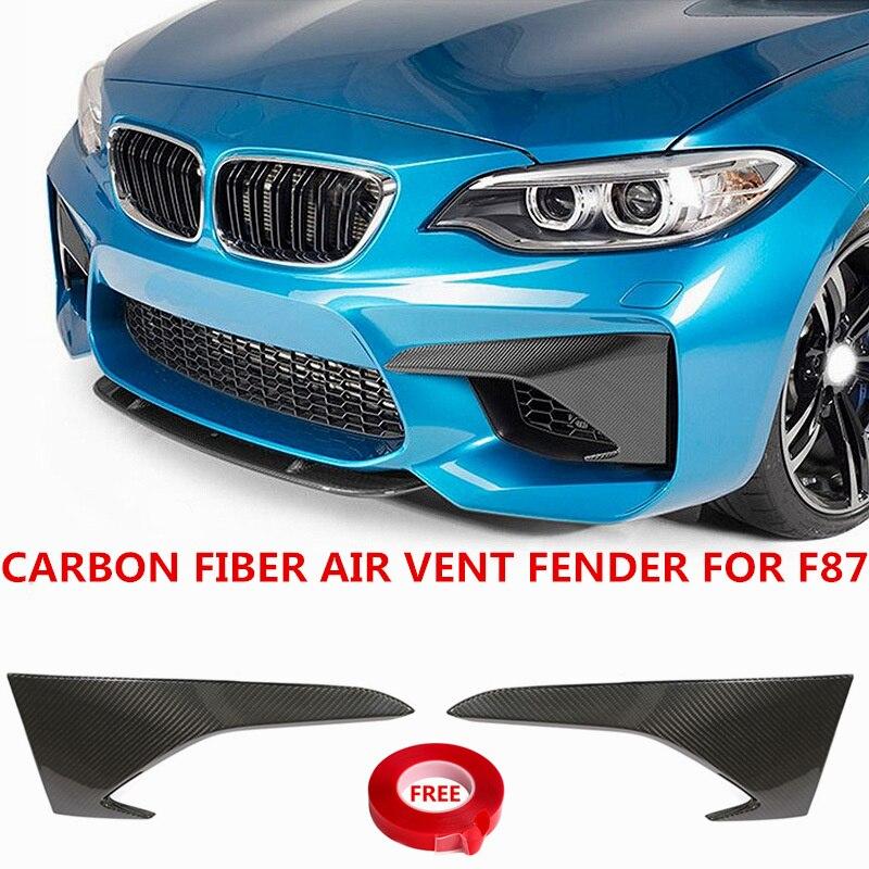 Garniture de garde-boue en Fiber de carbone Bat-Styling pour BMW F87 M2 séparateur de pare-chocs supérieur lèvre avant Canard style de voiture 2016 2017 2018