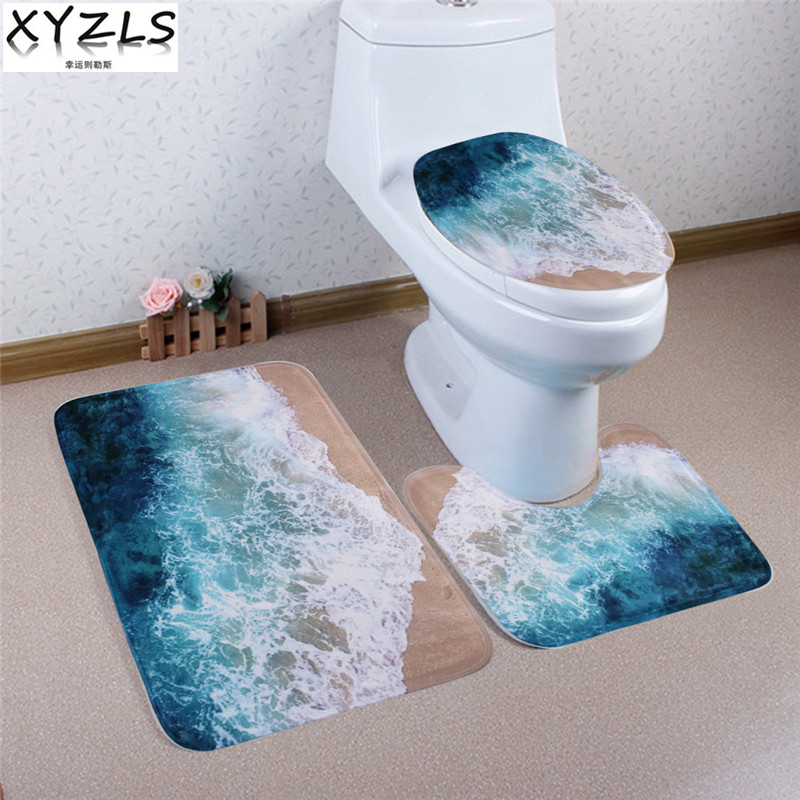 Fine Us 13 98 20 Off Xyzls 3 Pcs Brand New Wave And Beach Anti Slip Toilet Carpet Bathroom Mat Toilet Mats For Three Sets Of Bath Mat Home Decor In Bath Bralicious Painted Fabric Chair Ideas Braliciousco