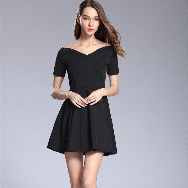 Summer vintage audrey hepburn little black dress women fashion sexy v-neck  short sleeve slim elegant a-line party dresses ba2380621628