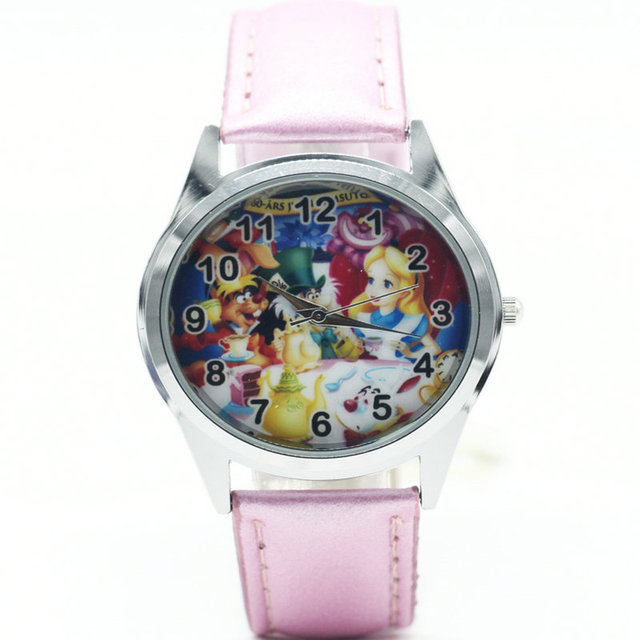 Fashion Alice in Wonderland kids Wristwatch High Quality Leather Strap Women Wat