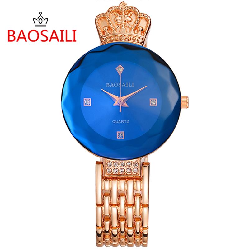Prix pour BSL958 BAOSAILI Marque Saphir Femmes Montres Célèbre Marque Femmes Robe Montres En Acier Inoxydable Couronne De Luxe Dames Montres