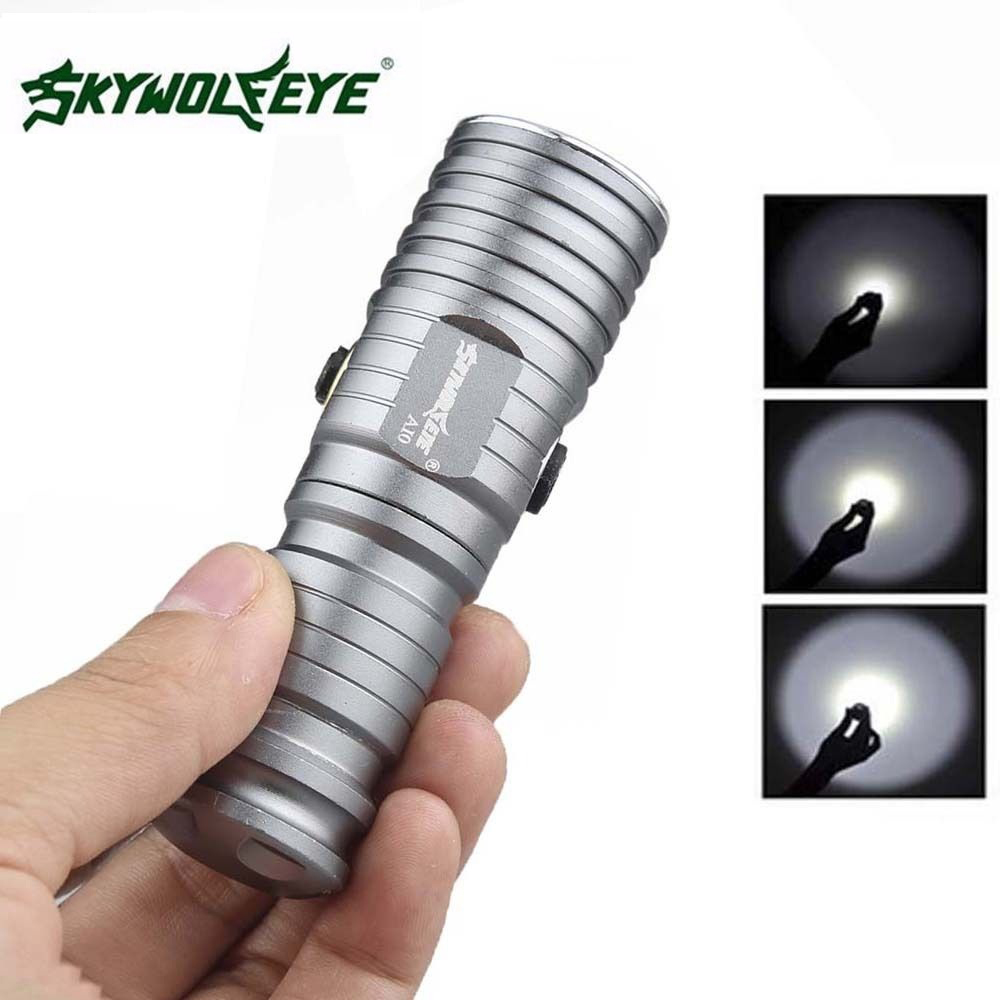 SKYWOLFEYE Silver XML T6 LED Rechargeable Flashlight Mini CR123A 3 Mode 500LM Compact Waterproof Outdoor LED Torch Flash Light dynavox t 30 silver