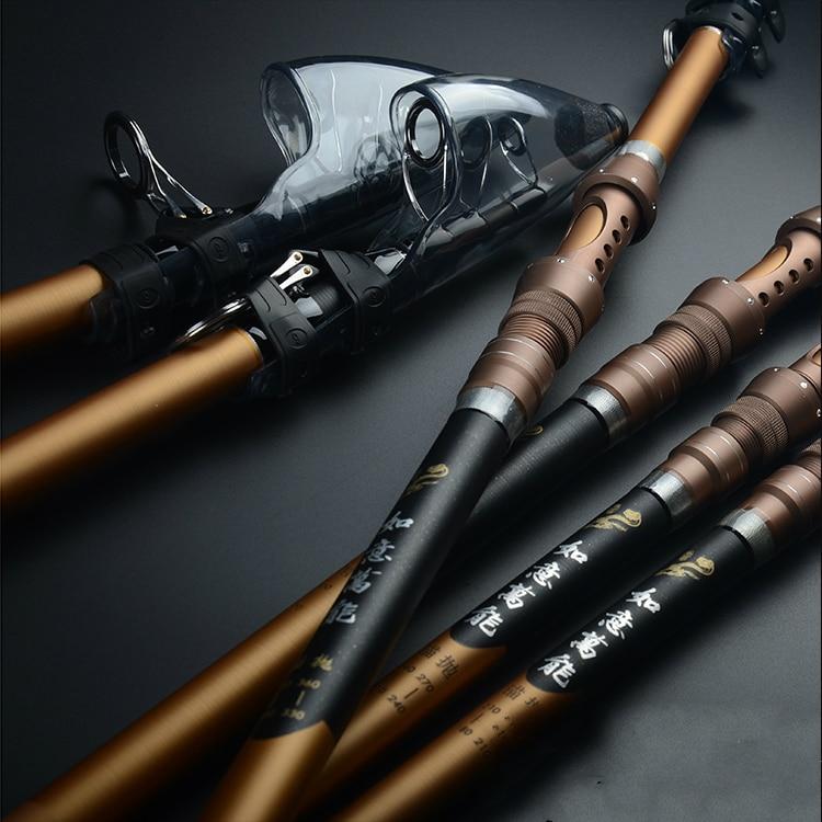 2 Tips Fishing Rod Carbon Fiber Distance Throwing Rod Telescopic Fishing Rod 2.1/2.4/2.7/3.6/3.9M Anchor Fishing Pole Tackle portable 5 section telescopic fishing rod pole 2 1m length