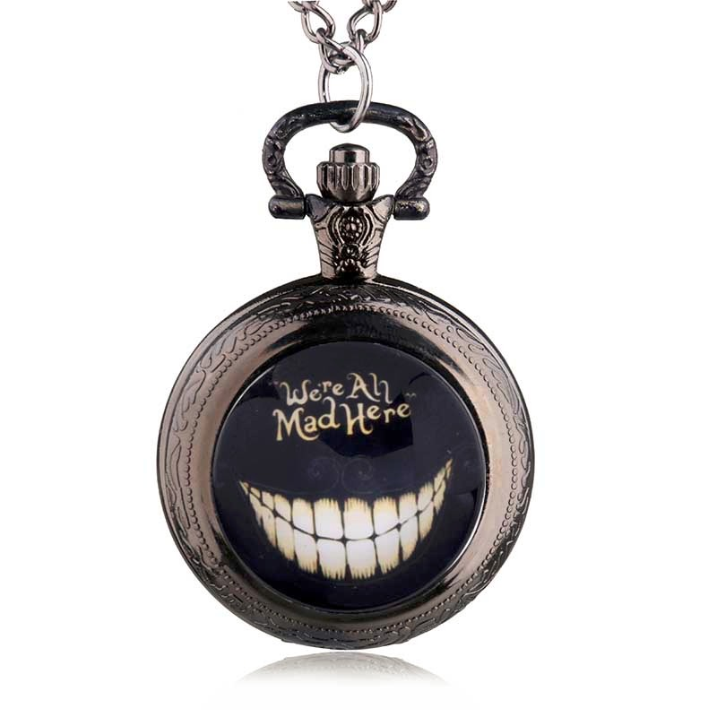 New Alice in Wonderland We're All Mad Here Quartz Pocket Watch Analog Pendant Necklace Mens Womens Gift
