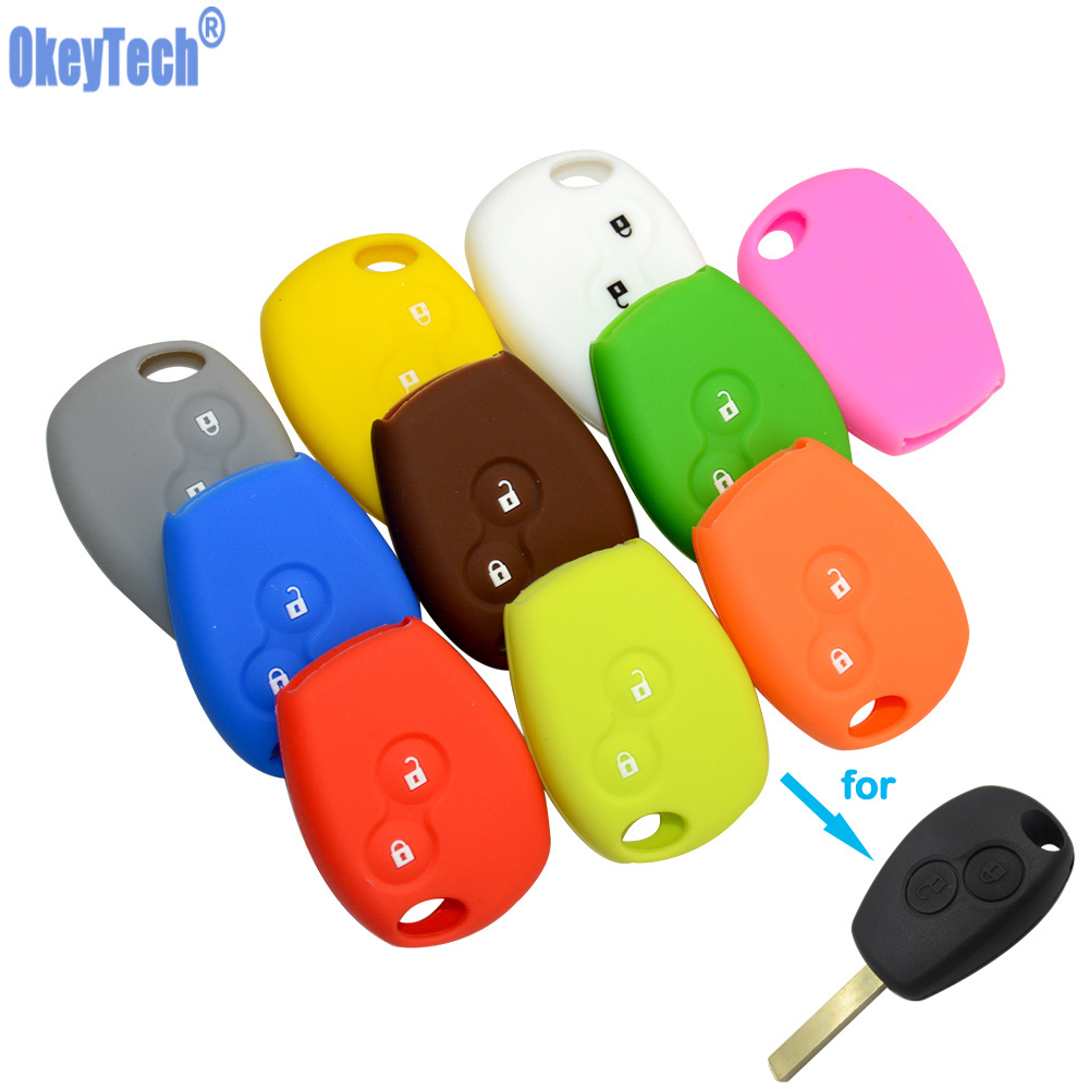 OkeyTech 2 Buttons Silicone Rubber Car Remote Key Case Cover For Renault Kangoo DACIA Scenic Megane Sandero Captur Twingo Modus keyyou without blade 2 buttons car key shell remote fob cover case for renault dacia modus clio 3 twingo kangoo 2 with logo