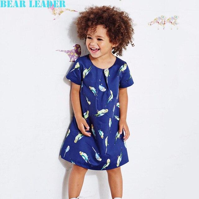Лидер медведь Девушки Платье 2016 Бренд Девушки Летние Платья Детская Одежда Мультфильм Животных Помет Птиц Дизайн для Grils Платье Принцессы