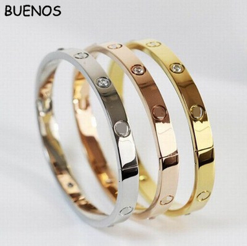 BUENOS Lovers Bracelets Woman Bracelets Stainless Steel Bangles And Bangles Cubic Zirconia Plated Golden Woman Jewelry Gifts