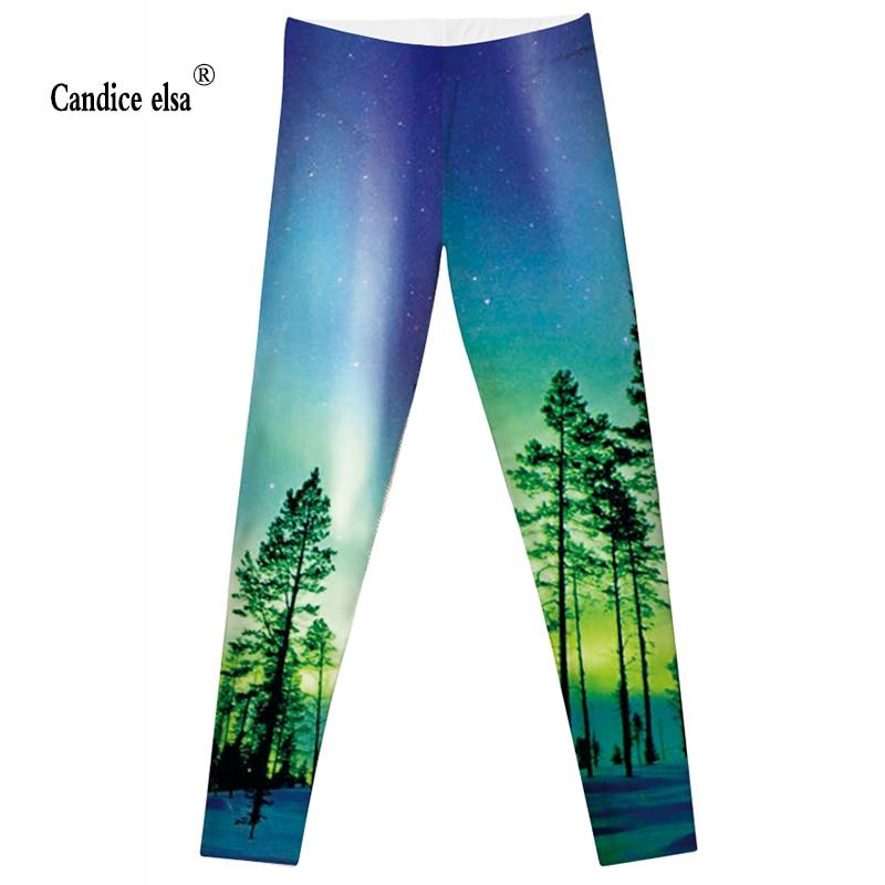 CANDICE ELSA Leggings de mujer elásticos de fitness legging paisaje - Ropa de mujer