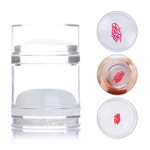 Dual-ended Nail Art Stamper Silicone with Rhinestone Clear White Jelly Stamper With Scraper for Nail Art Stamping Plates