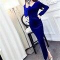 2017 Spring Vintage Velvet Bandage Cross Tunic Dress Women Sexy V Collar Solid Party Dress Slim Empire Club Maxi dress vestidos