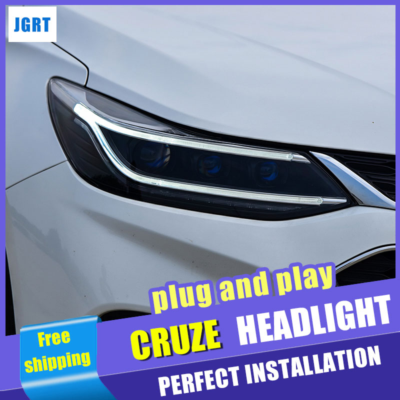 Car Styling for Chevrolet Cruze Headlight assembly 2018 for Chevrolet Cruze LED Headlight Lens Double Beam H7 with hid kit 2pcs. hireno headlamp for 2011 2014 chevrolet aveo headlight headlight assembly led drl angel lens double beam hid xenon 2pcs
