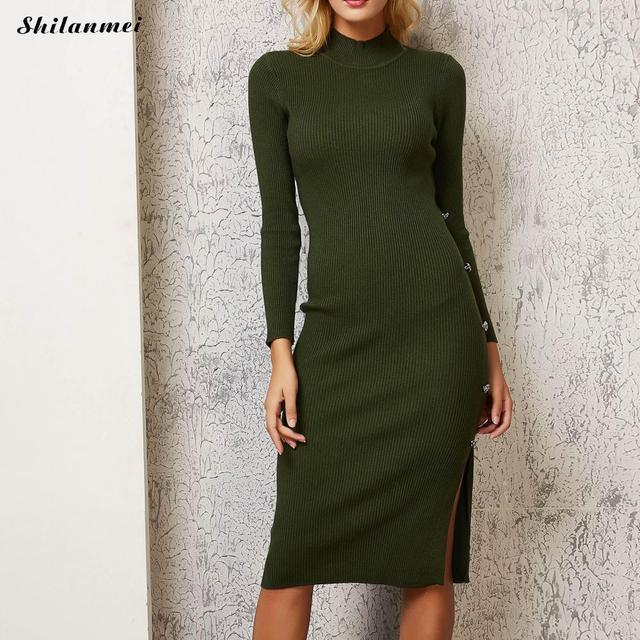 e5bd1600d549b0 Pullover Turtleneck Knitted Women Dress Knee Length Fashion Army Green Fall  Winter Female Bodycon Slim Sweater