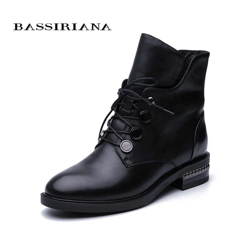 BASSIRIANA / 2019 autumn and winter new ankle boots zipper ladies leather natural wool warm women's shoes free shipping
